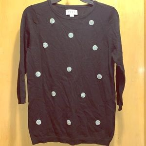 ELLE Black Sweater with Sparkly Polka Dots